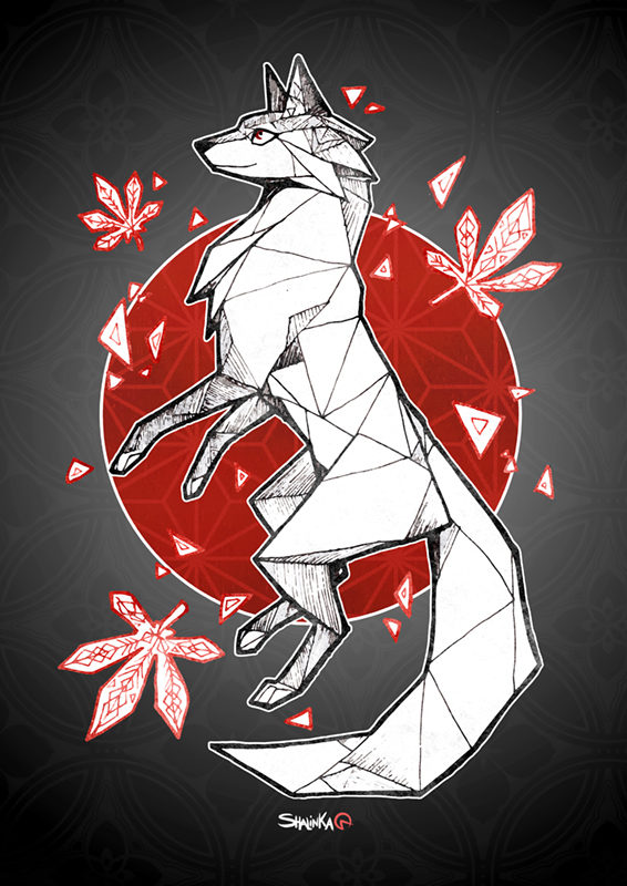 Print Origami Fox Shalinka